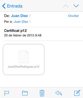 Obrir el correu des de l'iPhone o l'iPad i fer clic en el fitxer p12