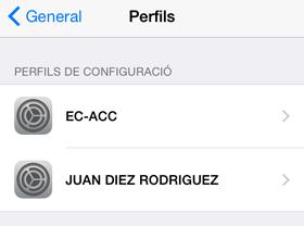 Comprovar els perfils instal·lats en Configuració / General / Perfils
