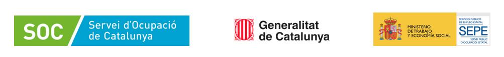 Logotips del programa Ubicat: Servei d'Ocupació de Catalunya, Generalitat de Catalunya i Ministerio de Trabajo, Migraciones y Seguridad Social