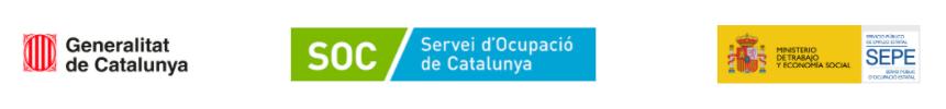 Logotips del programa SOC-Ubicat: Generalitat de Catalunya, SOC i SEPE